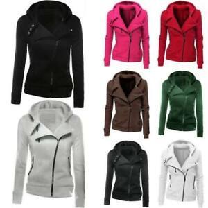Womens Hooded Sweatshirt Jacket Long Sleeve Zip Up Winter Warm Hoodies Outwear B