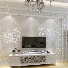 3D Embossed Modern Non-woven Flocking Wallpaper Wall Paper Roll LI