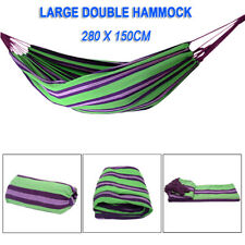 Outdoor Double Camping Hammock Patio Fabric Air Chair Hanging Swinging Stripes