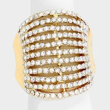 Cocktail Ring Multi Row Rhinestone Pave Crystals Wide Stretch Evening GOLD