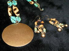Wood Beads w Large Round Gt Pendant Estate Demi Turquoise Colored & Burned Tan