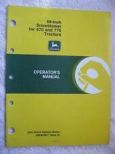 John Deere 59 Inch Snowblower For 670 & 770 Tractors Operators Manual