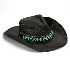 Katydid Black Cowgirl Hat with Turquoise Cross & Rhinestone Band