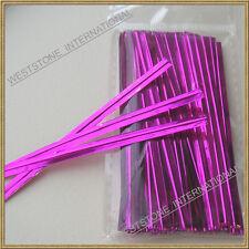 "100pcs Hot Pink 4"" Metallic Twist Tie for Candy Lollipop Cello Bag"