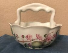 Ceramic Candy Basket / Bowl With Fruit Flowers By Royal Gallery