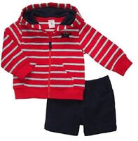 CARTER'S BOY 2 PC CRAB HOODED TERRY CARDIGAN W/KNIT SHORTS SIZES: 6M & 9 12M NWT