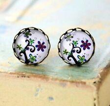 Vine Flower Flora Earring Vintage Retro Bronze Earring Studs Glass Gem Jewelry ♫