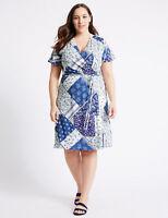 BNWT M&S Collection Blue Purple White Floral Print Short Sleeve Wrap Dress 20