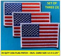 "[3] USA AMERICAN FLAG EMBROIDERED PATCH IRON-ON SEW-ON WHITE BORDER (3½ x 2¼"")"