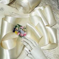 """1y VTG 4"""" IVORY WEDDING DBL FACE SATIN RIBBON TRIM OFF WHITE FRENCH HAT BOW ANTQ"""