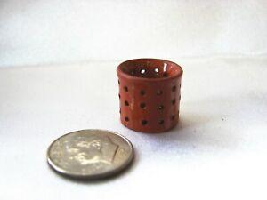 "RARE Miniature REDWARE Basket COLANDER / STRAINER 5/8"" Inch ~ by CNC"
