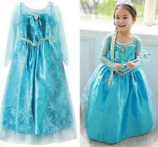 Girls ELSA Queen Dress Princess COSPLAY Costume Party Fancy Dress 2-8Y CROWN
