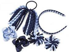 Blue School Hair Bow Clips Alice band Korker Bobble PonyTail Holder Sets