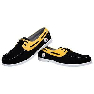 Pittsburgh Steelers Side Logo Team Color Boat Casual Shoes Slip On Men's Sizing