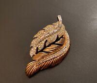 Vintage Crown Trifari Double Leaf Golden Tone Rhinestone Baguette Pin Brooch