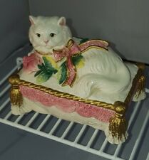 Fitz & Floyd Essentials Kittens & Roses Cat Trinket Box Retired Vanity Dish