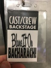 BLAME IT ON BACHARACH! Cast/Crew Backstage Pass