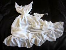 Long Lacy Chiffon Gown Sheer White Open Lace-Up Back! 2XL Sexy Nightie Lingerie