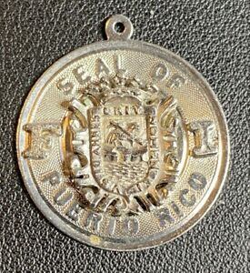 """Vintage SEAL OF PUERTO RICO Sterling Silver Charm, 1-1/8"""" Diameter, Coat of Arms"""