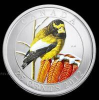 2012 Evening Grosbeak Birds of Canada 25 cent Coloured Coin Quarter