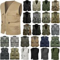 Mens Multi-Pocket Outdoor Vest Hiking Photography Waistcoat Jacket Coat Camo Zip
