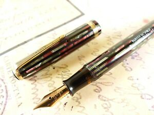 Dusty Red Parker Striped Duofold Fountain Pen - restored