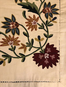 Linen Source Canterbury Embroidered Crewel Ivory Floral Euro Pillow Sham NWOT