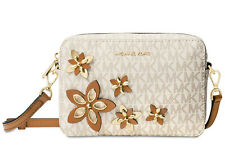 Michael Kors Flowers Pouches Medium Camera Cross Body Bag Vanilla