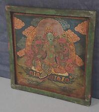 SACRED  THANGKA of the BUDDHA. HAND PAINTED on WOOD. KATHMANDU, NEPAL.