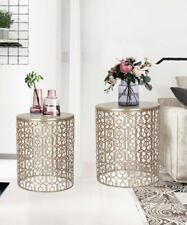 2 Gold Bronze Nesting Accent Coffee Side End Table Nightstand Indoor Outdoor