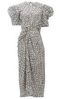 Preen by Thornton Bregazzi Black & White Silk-Blend Abstract Print Midi Dress. L