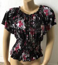 COCOMO Womens Petite Size PM Peasant Blouse Shirt Short Sleeve