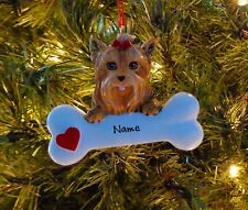 Yorkie With Dog Bone Personalized Christmas Tree Ornaments