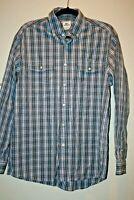 Lacoste Button Down Shirt Blue/White Plaid Size Large 42 Long Sleeve