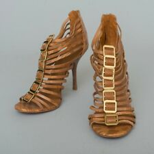e11cf9d85517 Tory Burch Designer Brown Leather  Snakeskin  Strappy High Heels ...
