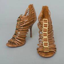 0b3419841f7 Tory Burch Designer Brown Leather  Snakeskin  Strappy High Heels ...