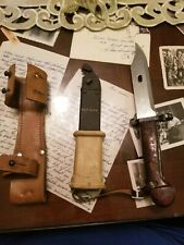 Genuine Romanian Military Bayonet / Knife with Metal Scabbard/leather holster