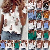 Women Short Sleeve Tee Shirts Blouse Ladies Ruffle V-neck Top T-Shirts Plus Ceng