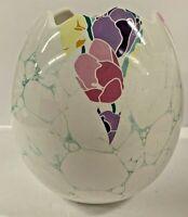 Gorgeous Vintage Waechtersbach Pottery Easter Egg Shape Vase Floral Germany