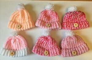 """pom pom Hats to fit Annabell doll or18"""" doll without hair or prem baby  £2.99"""