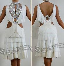 L2820 Fringes Ballroom chacha latin swing samba rumba dance Lady dress US8 White