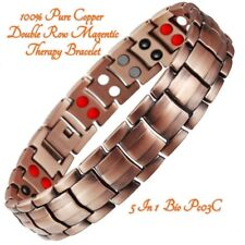 Pure Copper Magnetic Bracelet 42 Double Row Magnets For Arthritis Men. USA STOCK