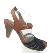 Chie Mihara Ankle Strap Heel Sandal Tan Black Leather Womens Shoe SIZE 40 / 10