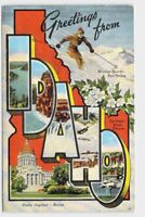 BIG LARGE LETTER VINTAGE POSTCARD GREETINGS FROM IDAHO BOISE STATE CAPITOL #2