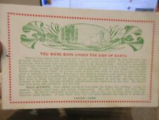 Other Old Postcard Victorian Random Horoscope Astrological Sign Earth Destiny