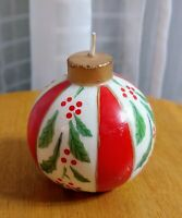 Vintage Christmas Ball Round Retro Ornament Design Wax Candle Holly Unused