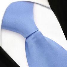 TigerTie Security Satin Seidenkrawatte in blau hellblau uni mit Gummizug