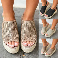 Women Wedge Espadrilles Flatform Woven Sandals Ladies Peep Toe Slingback Shoes