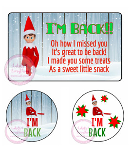 Red Elf I'm Back Stickers Sweet Cones Party Christmas Xmas Gift Hamper Box