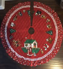Vtg 1950s 60s Quilted Christmas Tree Skirt Santa Noah'S Ark 42� Lace Trim